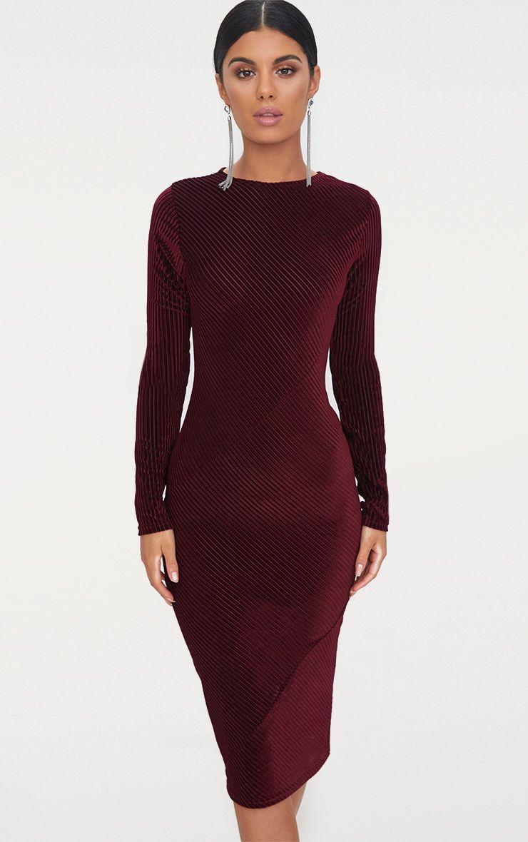 Burgundy Velvet Striped Long Sleeve Panel Midi Dress