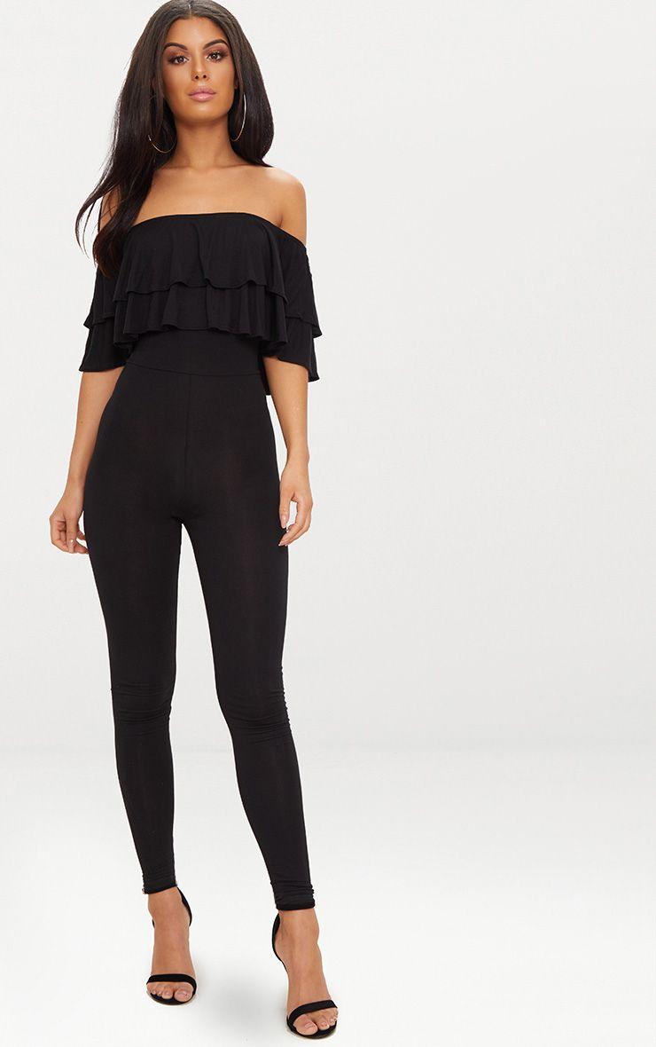 Black Jersey Double Frill Jumpsuit