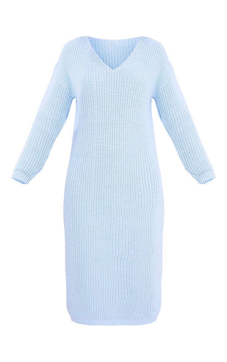 Breeze robe pull surdimensionnée bleue à col en V 3