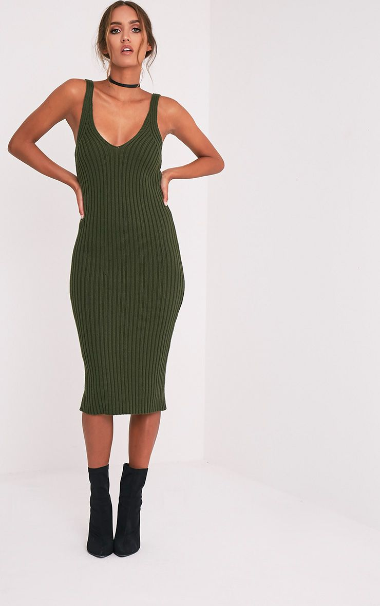 Nimah Khaki Ribbed Vest Knitted Midi Dress 6