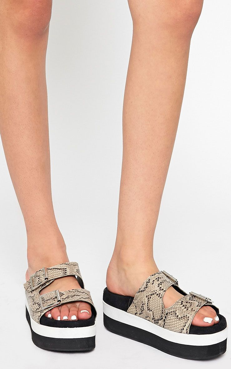 Cody Snake Effect Buckle Flatform Sandals 1