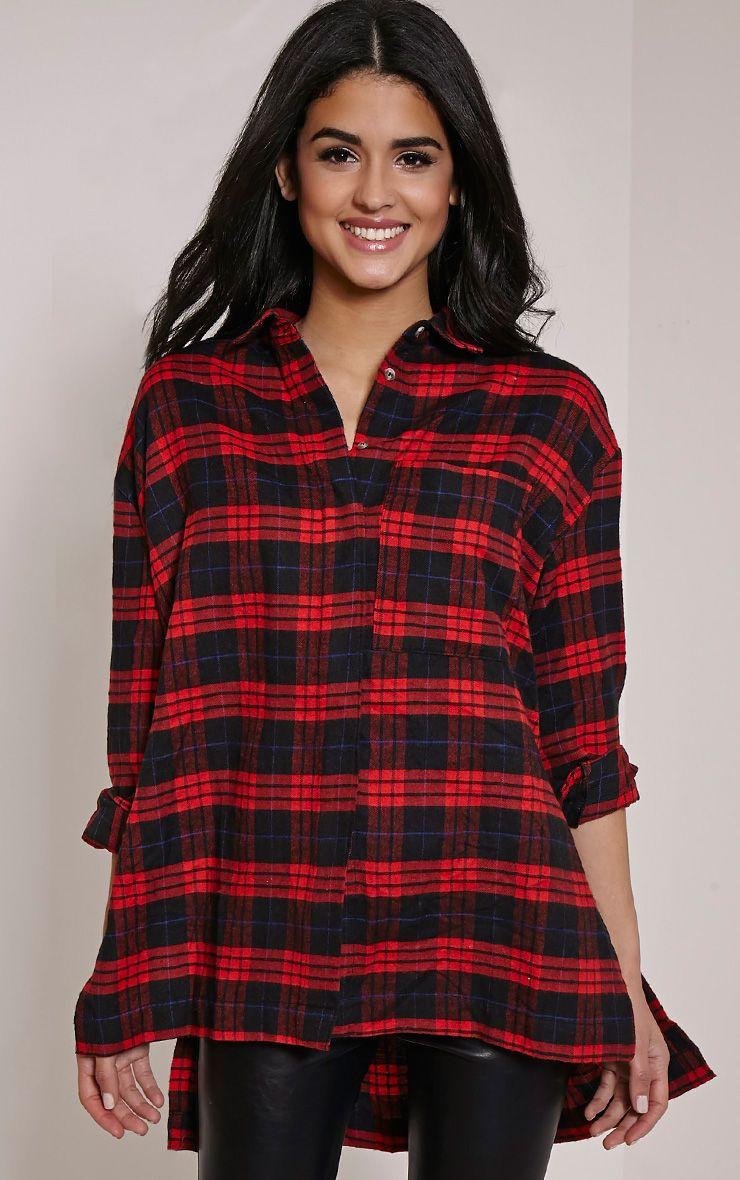 Alier Red Check Oversized Boyfriend Shirt 1