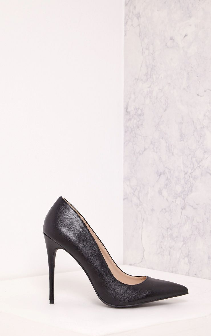 Alisa Black Faux Leather Pointed Heels
