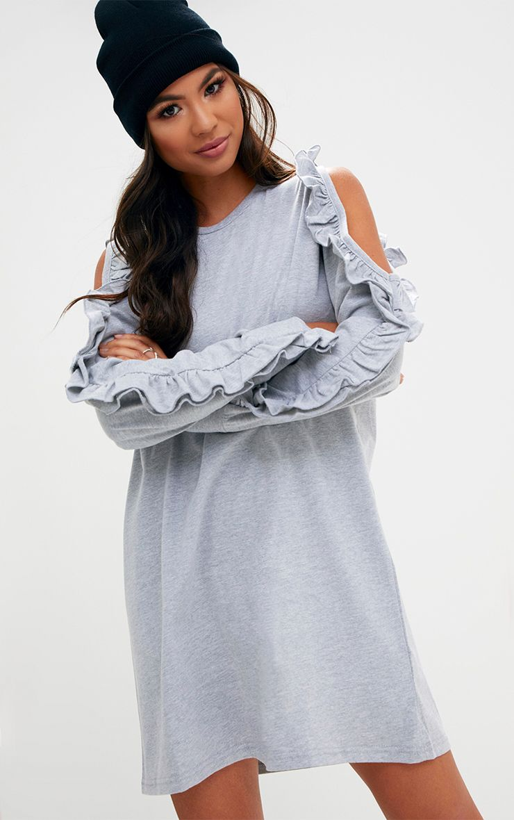 Grey Marl Frill Cold Shoulder T Shirt Dress
