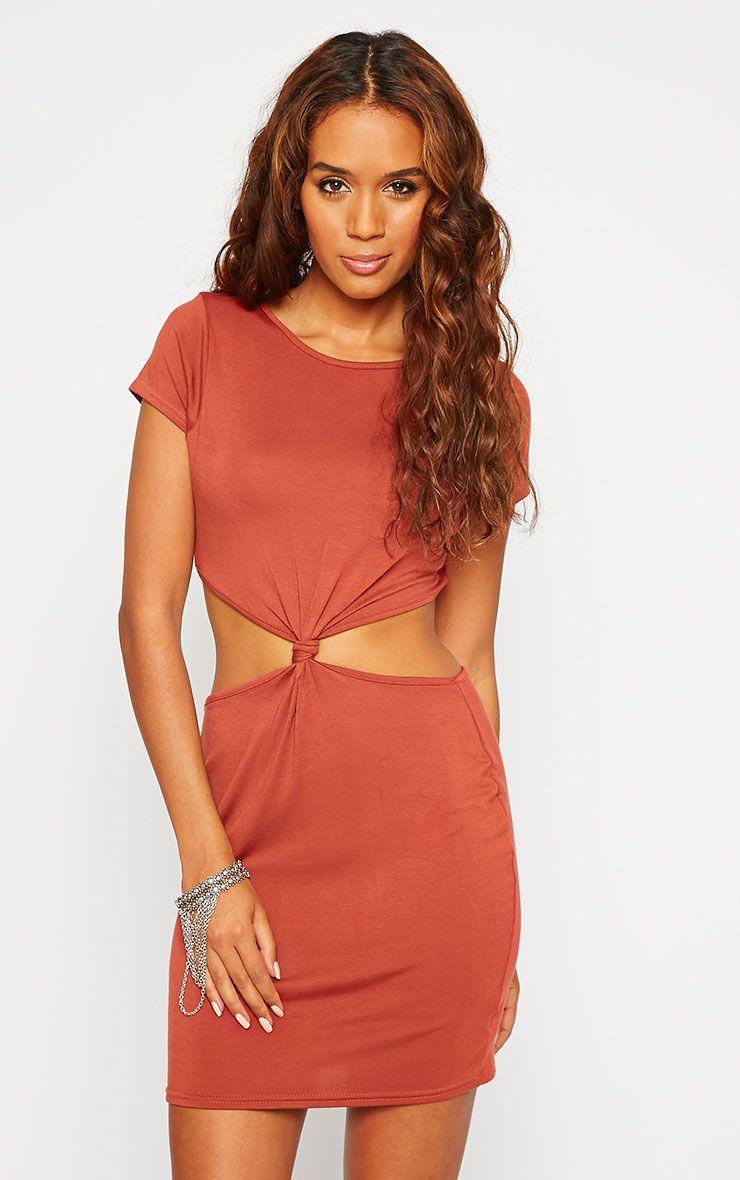 Sukie Rust Twist Front Mini Dress 1