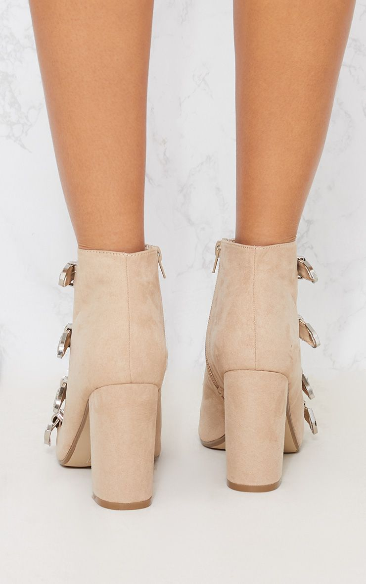 PRETTYLITTLETHING Taupe Western Buckle Block Heel Sandal wxF7VN