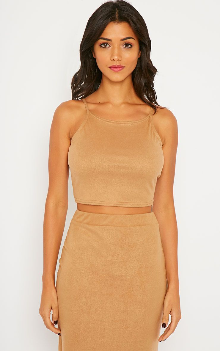 Amanda Camel Suede Crop Top 1
