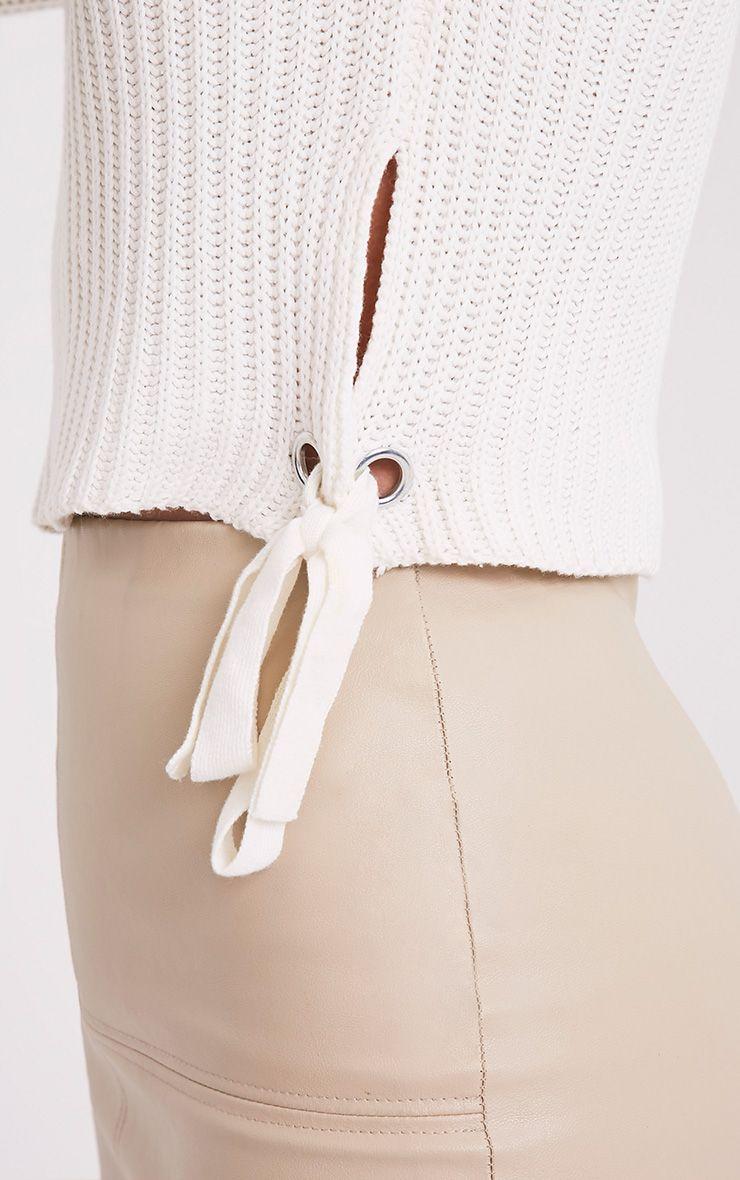 Tanae pull court blanc à lacets latéraux 5