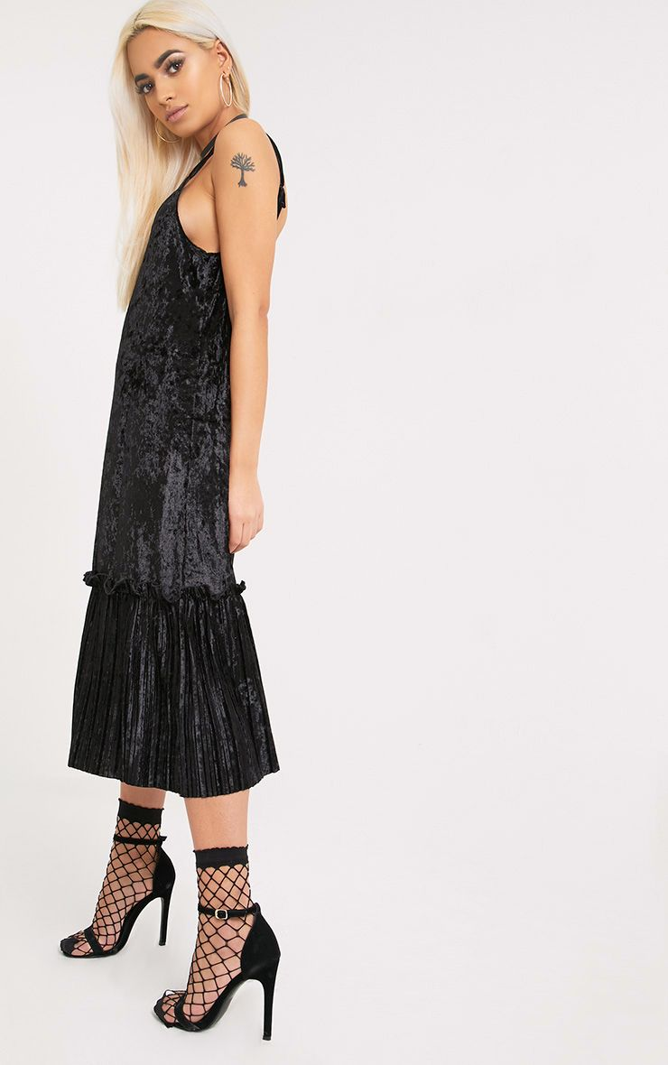 Domanica Black Velvet Frill Hem Midi Dress