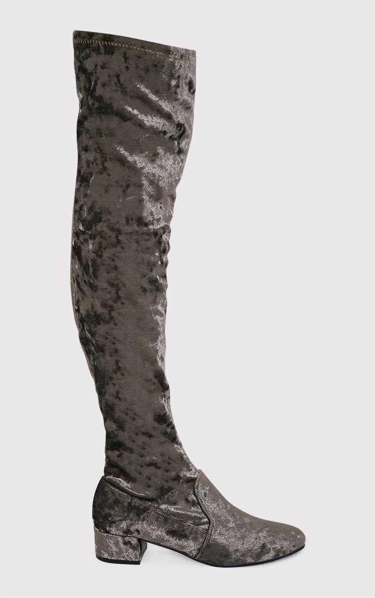 Esmay Khaki Crushed Velvet Thigh High Boots 1
