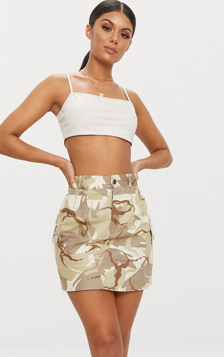 Khaki Camo Cargo Mini Skirt