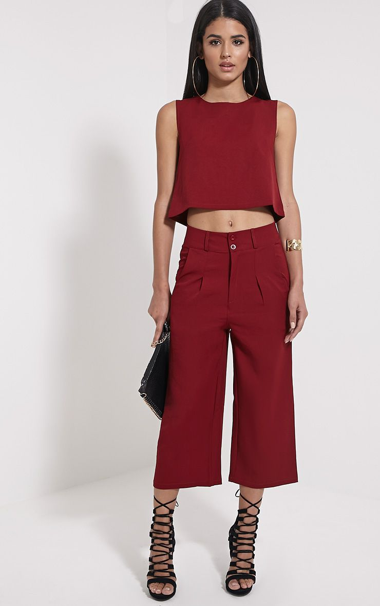 Harlow Burgundy High Waisted Culottes 1
