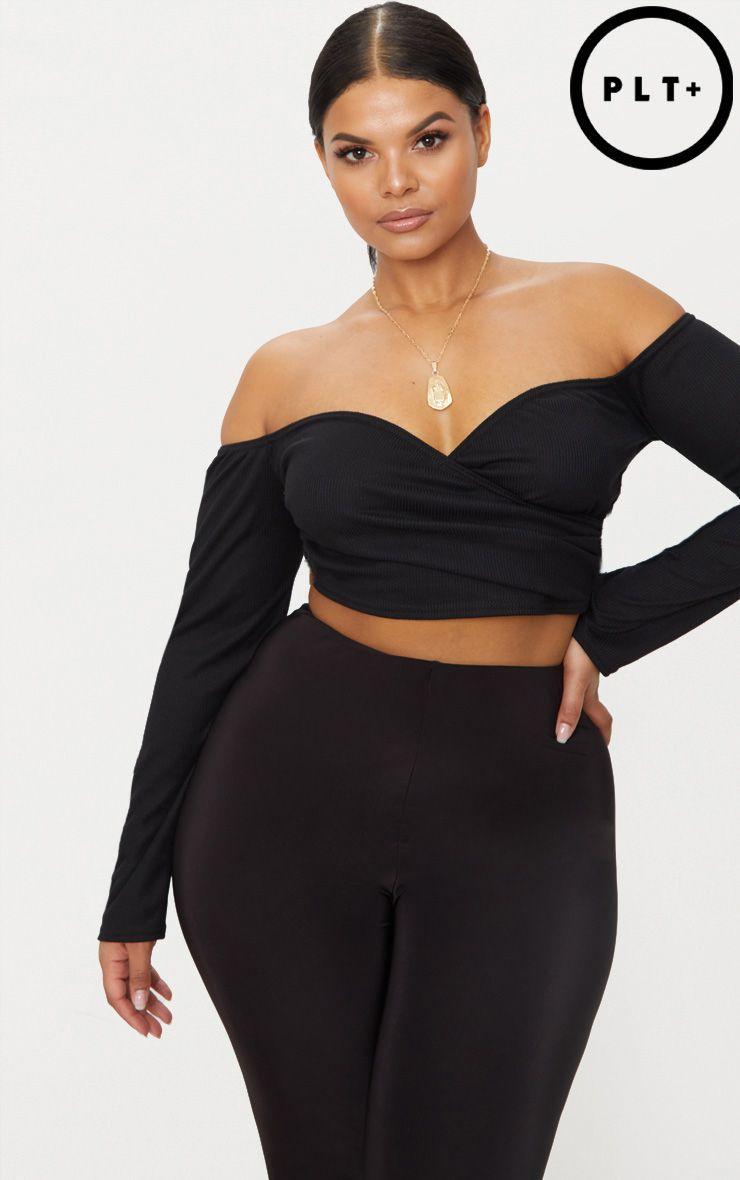 5c2710f5900 Shoptagr | Plus Black Ribbed Bardot Crop Top by Prettylittlething