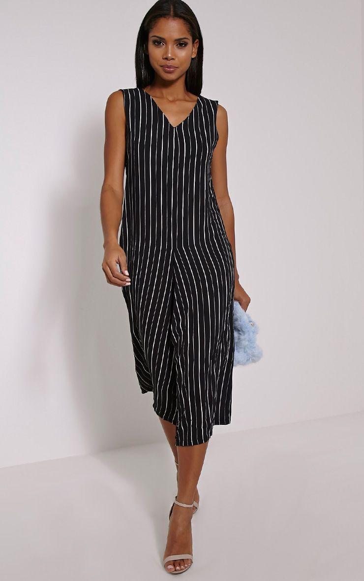 Anika Black Pinstripe Culotte Jumpsuit 1
