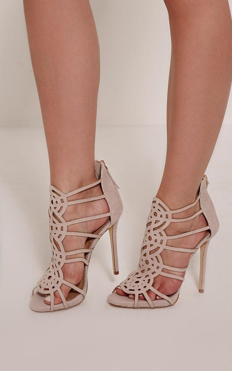 Shona Nude Faux Suede Laser Cut Heels 1