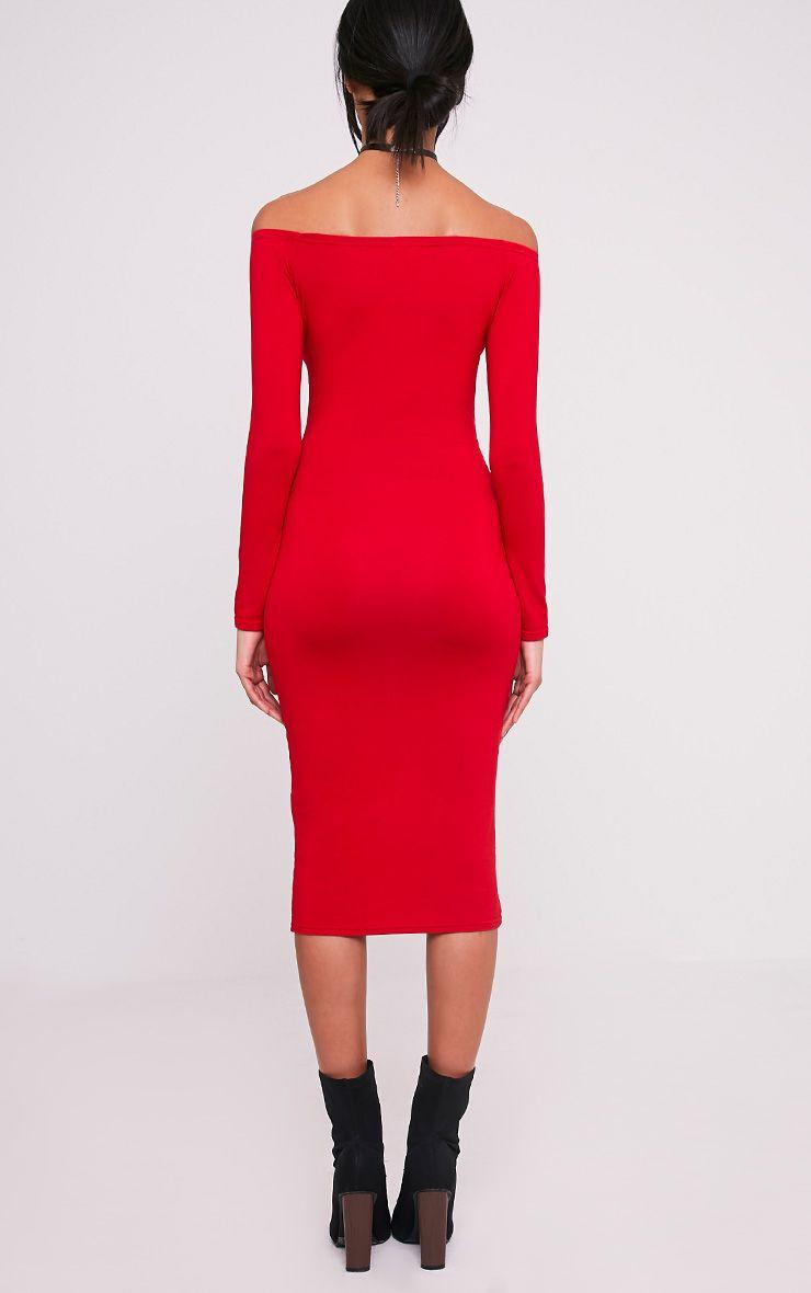 Basic robe midi bardot rouge en jersey 2