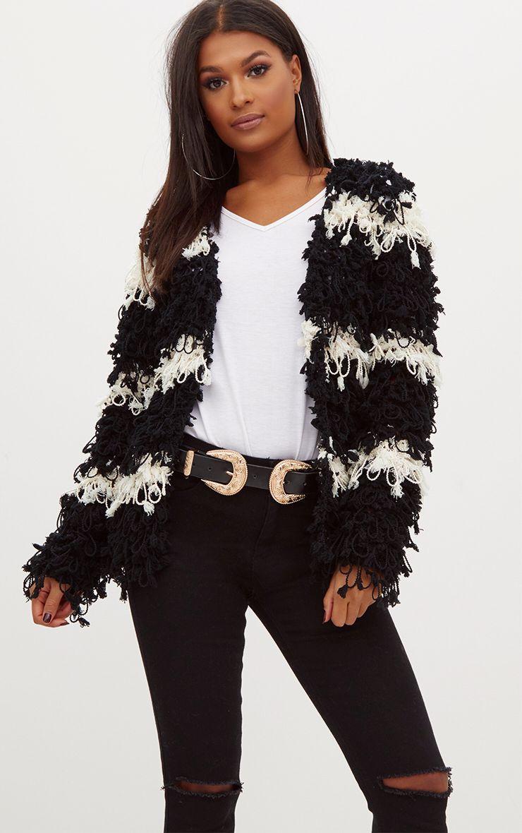 Black Loopy Knit Stripe Cardigan