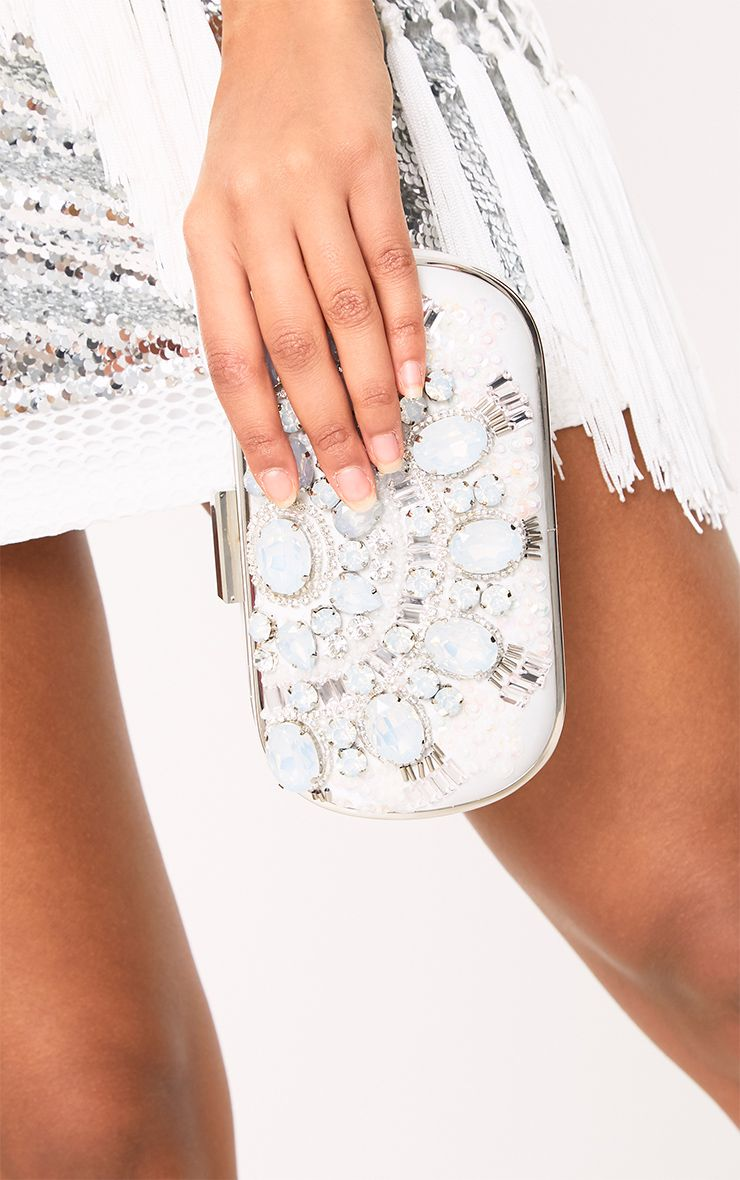 White Jewel Embellished Box Clutch