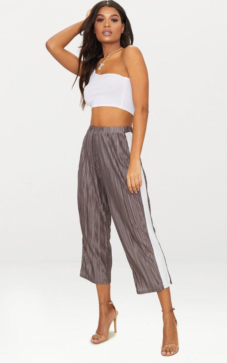 Grey Contrast Stripe Plisse Culottes