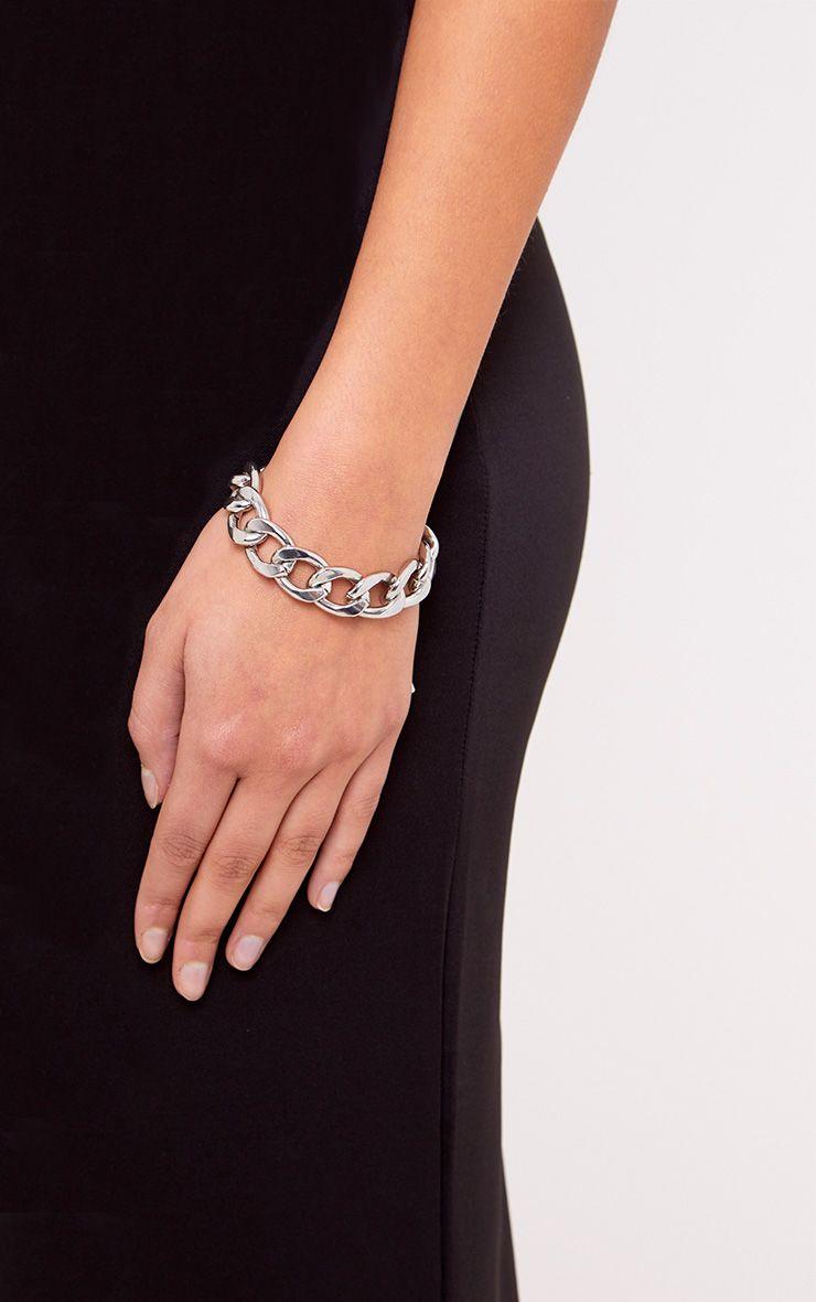 Jordanna Silver Oversized Chain Bracelet