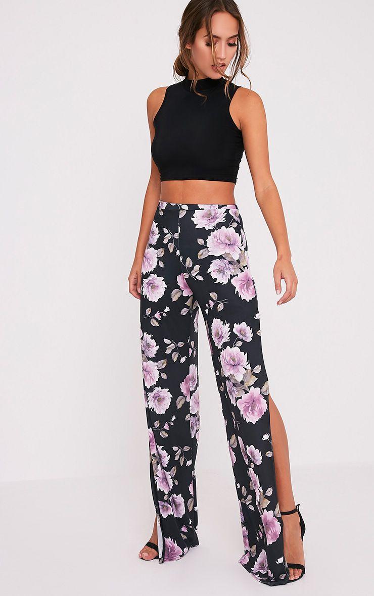 Darsee Black Floral Print Side Split Slinky Trousers