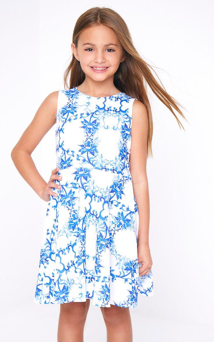 Oriental Print White Scuba Skater Dress