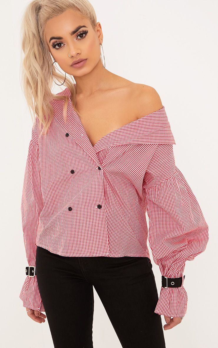 Divya Red Gingham Check Cuff Sleeve Off Shoulder Shirt