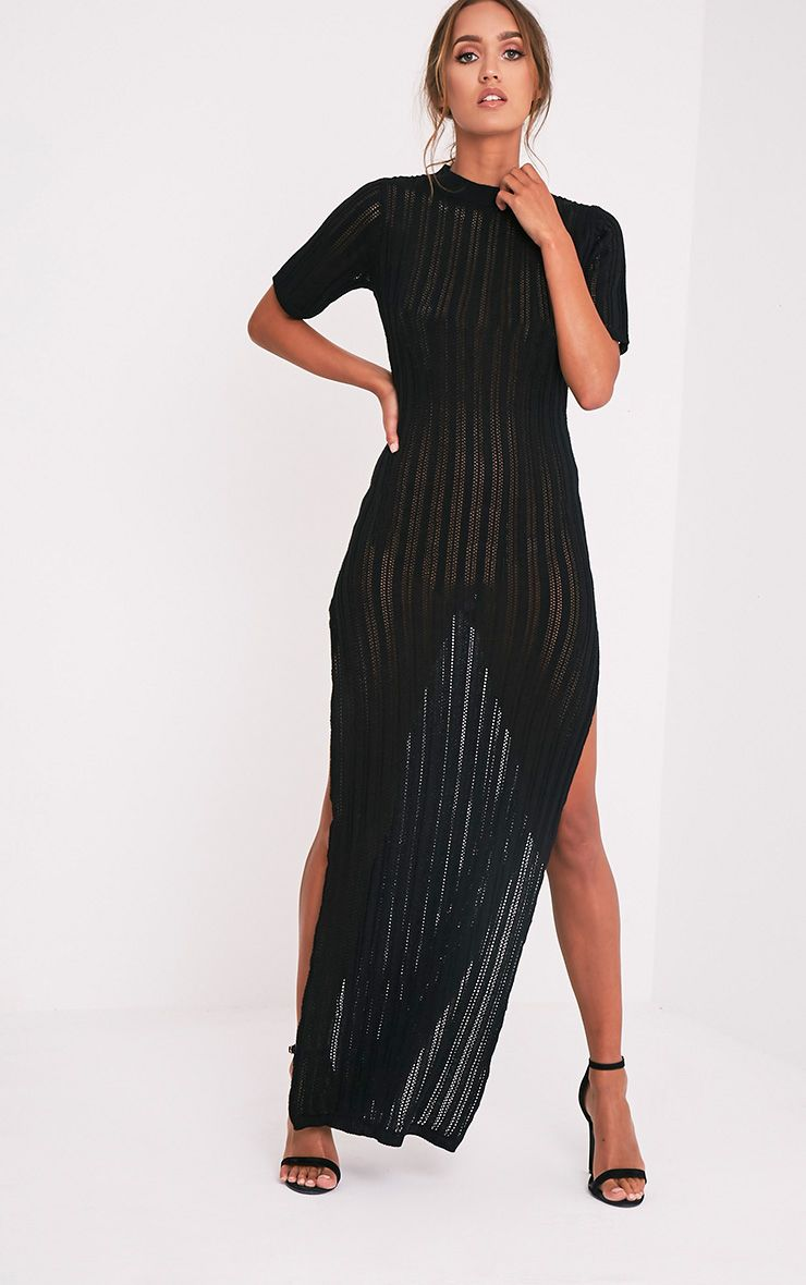 Zaria robe maxi tricotée à rayures noire 6