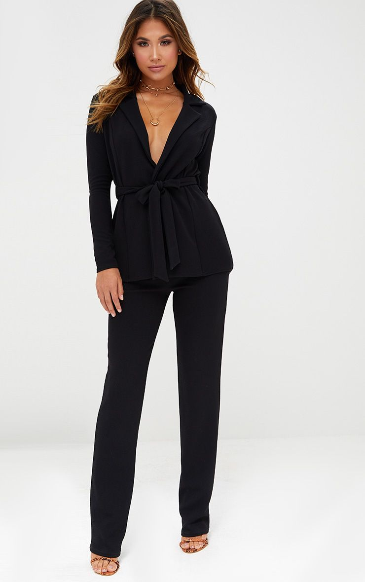 Black Straight Leg Suit Trousers