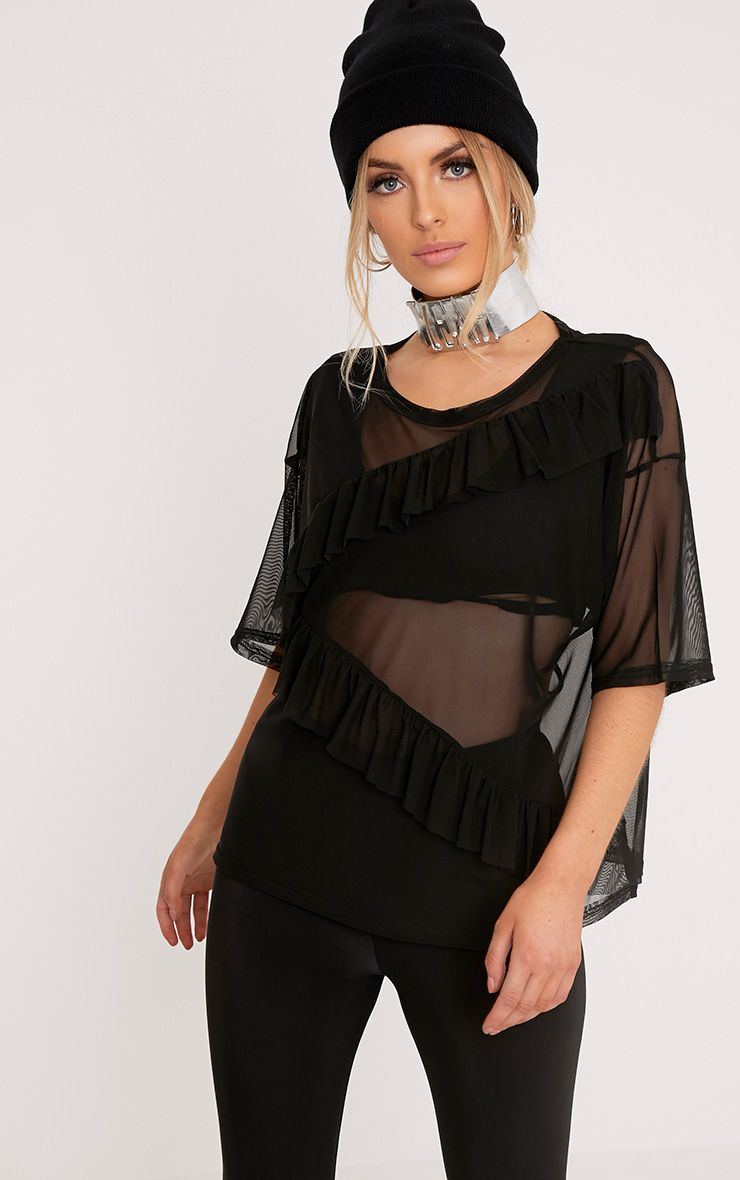 Savannah Black Mesh Frill Detail Oversized T Shirt
