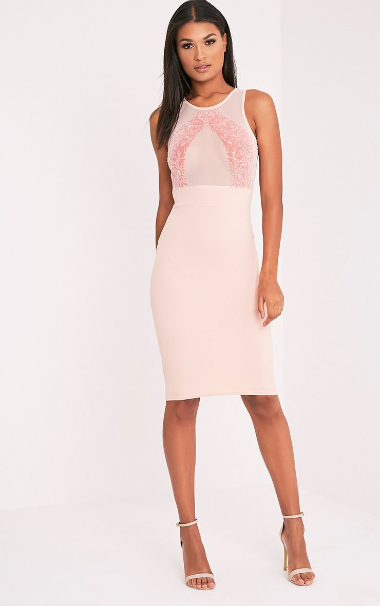 Tay Nude Flock Detail Midi Dress 1