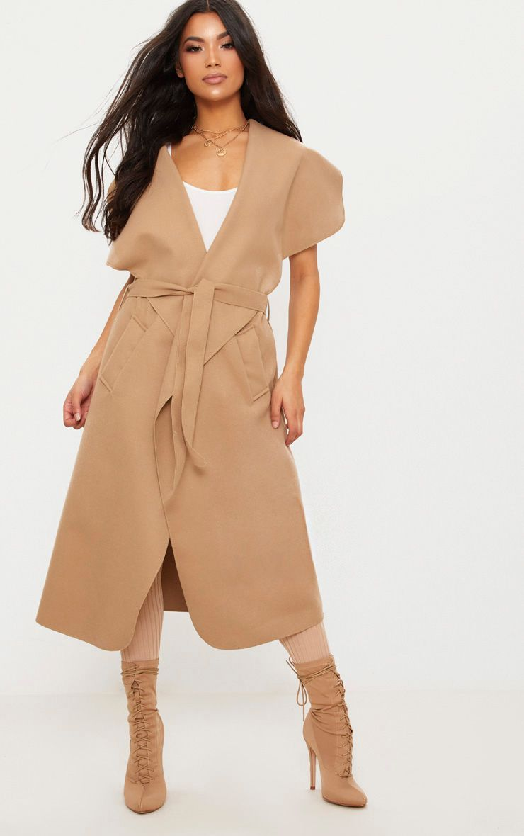 Camel Sleeveless Waterfall Coat Belted Coat 1