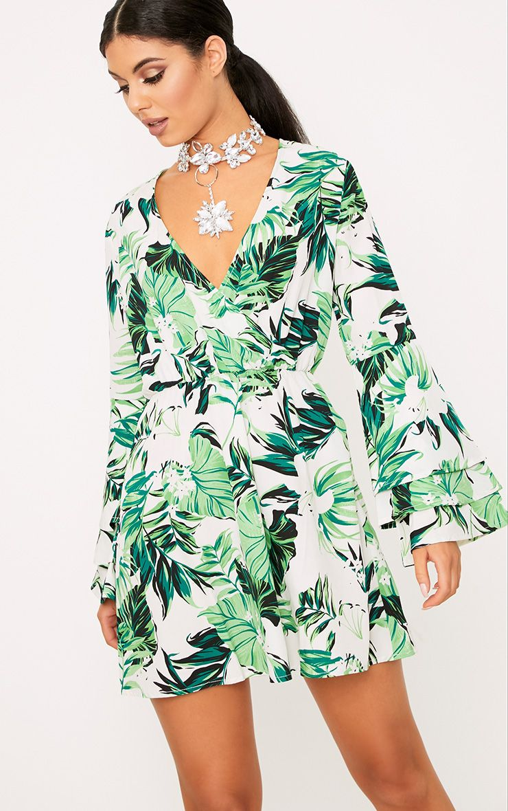 Green Leaf Printed Shift Dress