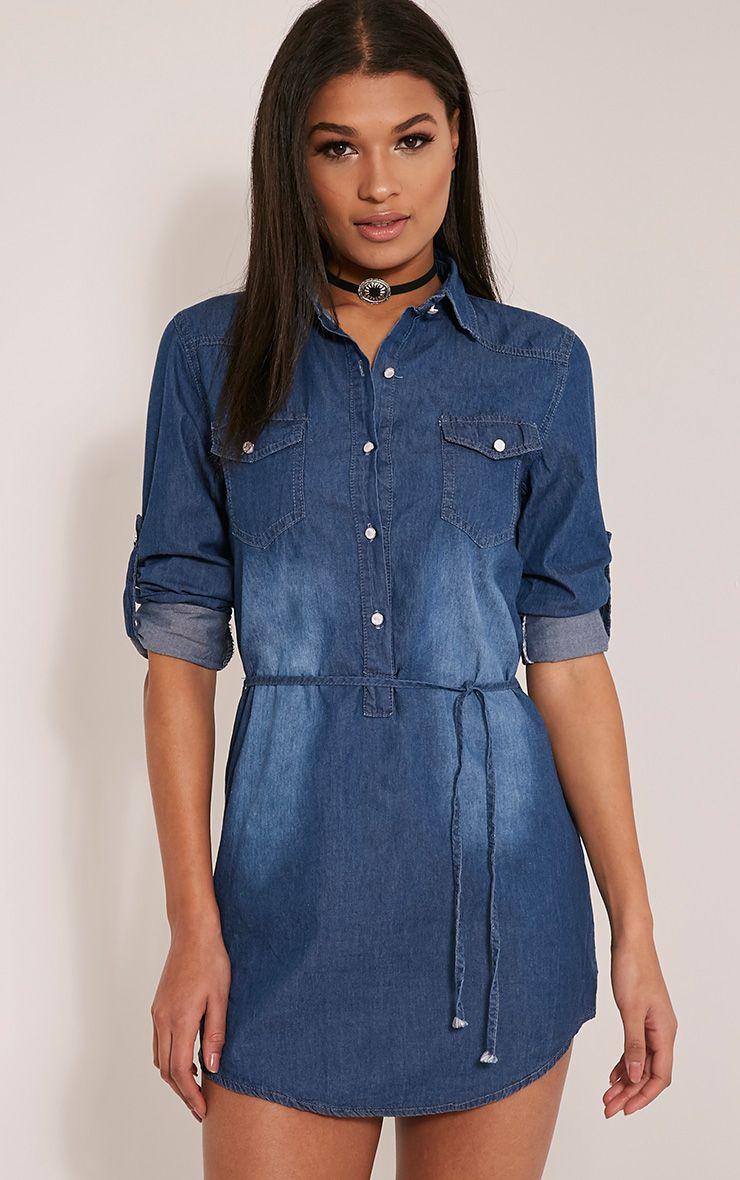 Rosemary Dark Wash Tie Waist Denim Shirt Dress 1