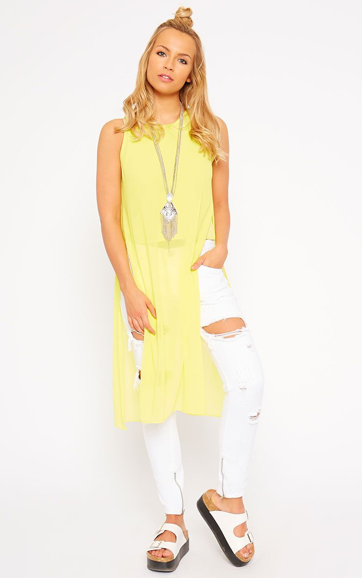 Cecile Yellow Sleeveless Chiffon Top 1