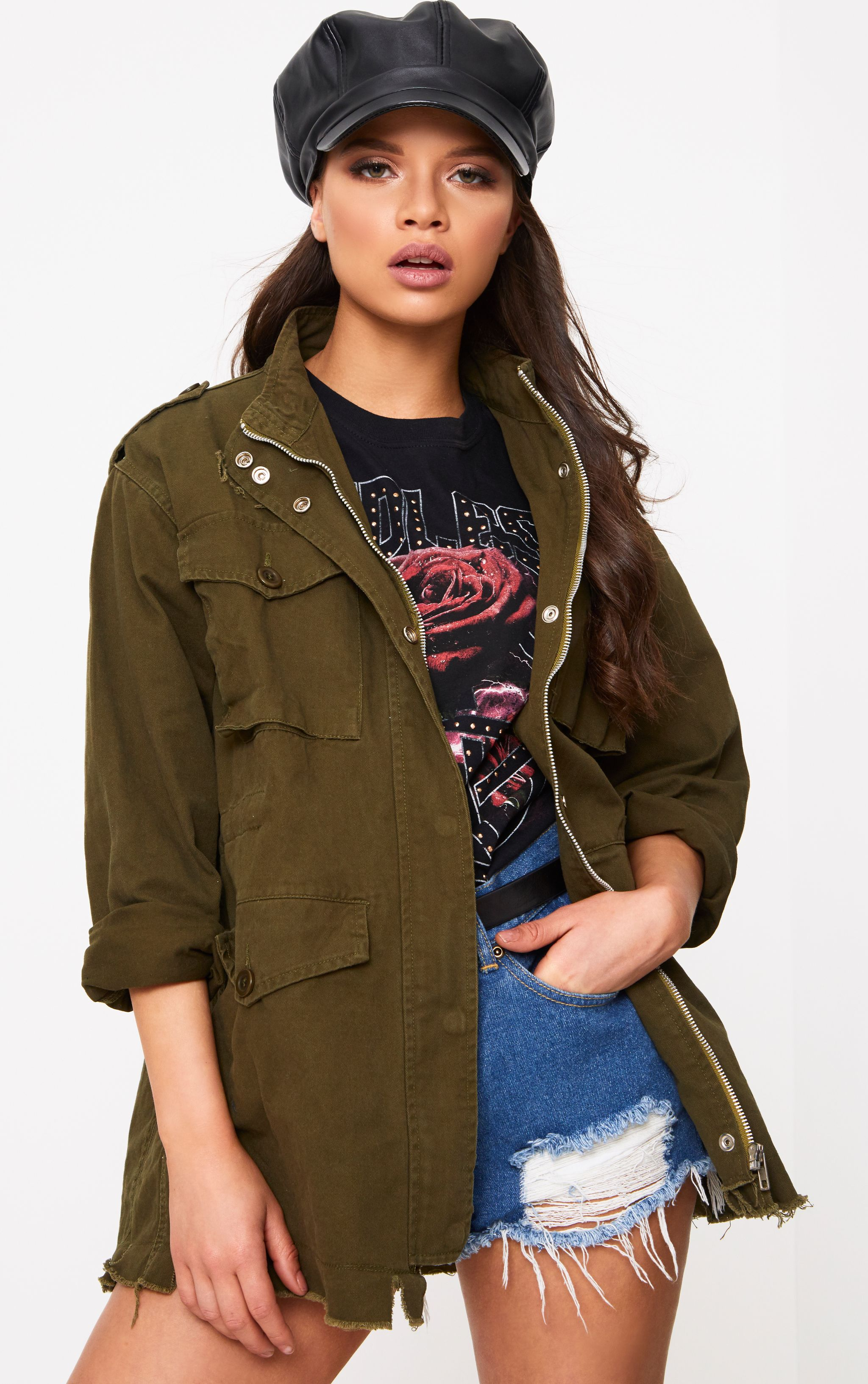 Aashia Khaki Distressed Utility Jacket