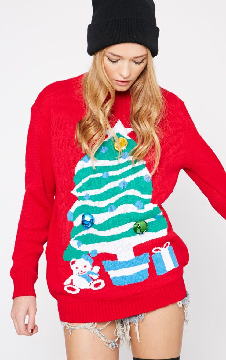 Breanne Red Jingle Bell Embellished Christmas Tree Jumper  1