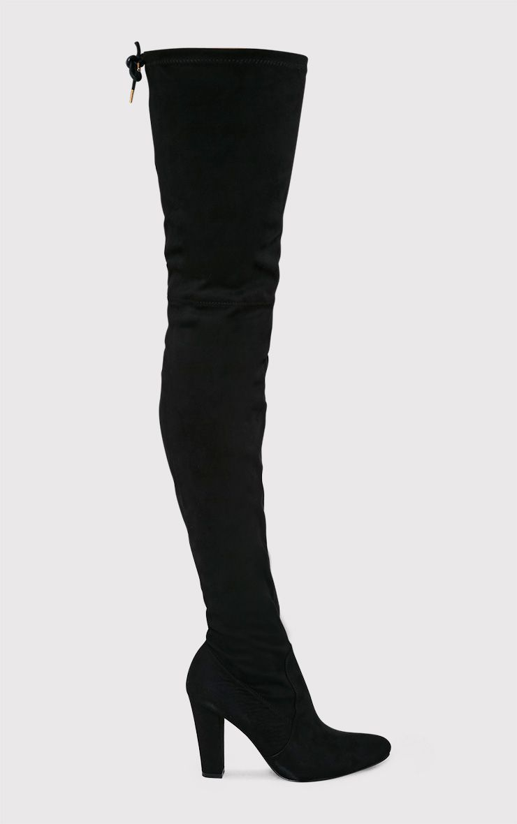 Cindy Black Extreme Thigh High Block Heeled Boots 1