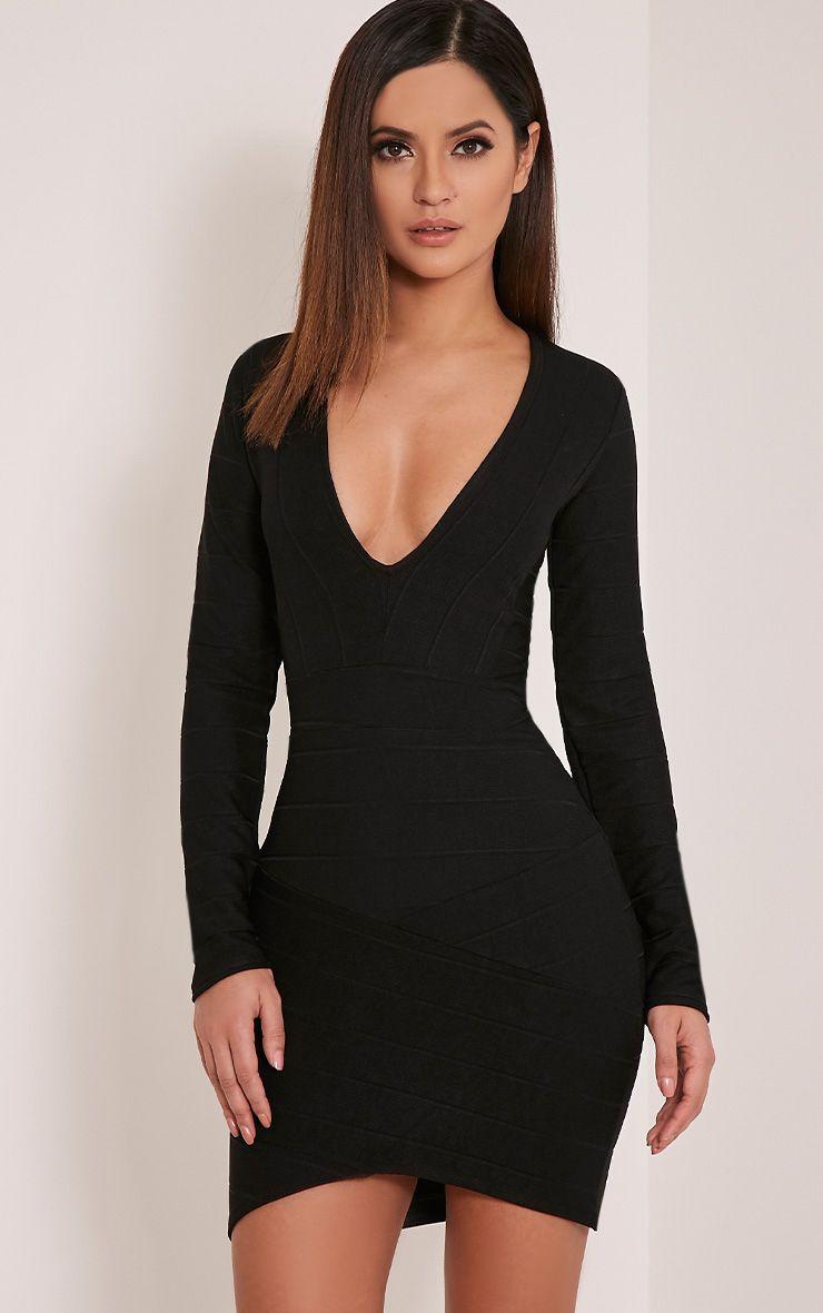 Jeana Black Bandage Plunge Bodycon Dress 1