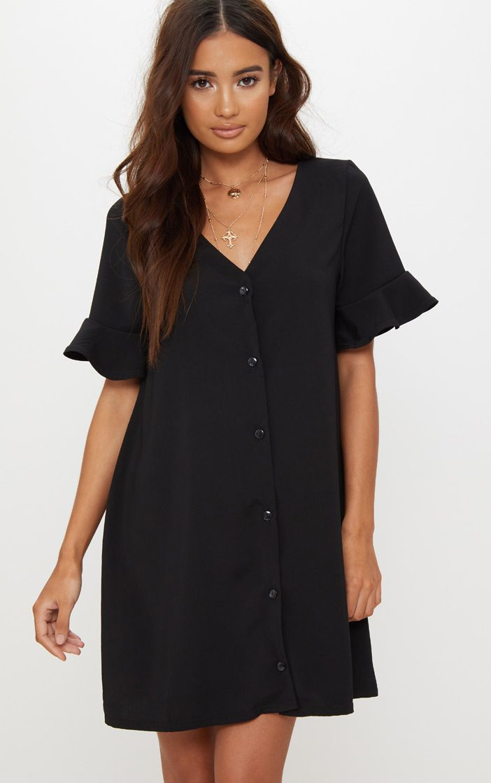 Black Button Through Frill Sleeve Shift Dress