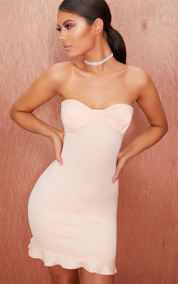 Nude Cup Detail Frill Hem Bandeau Bodycon Dress