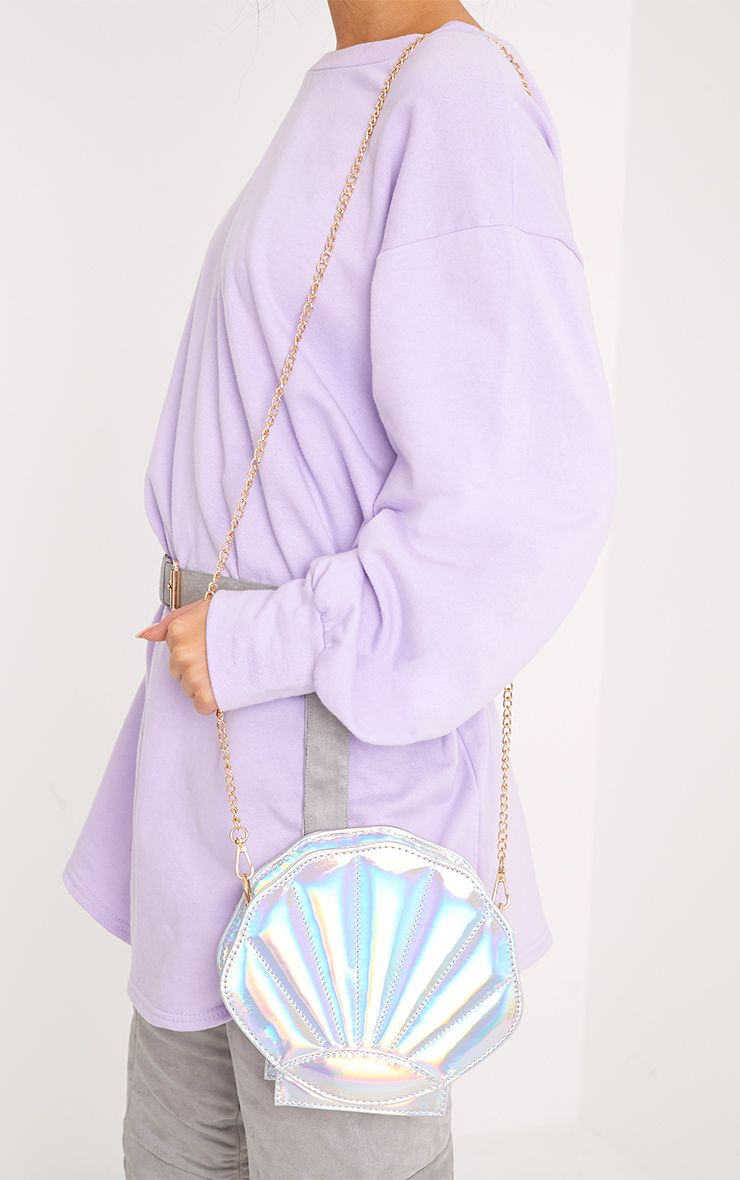 Luna Silver Holographic Shell Bag