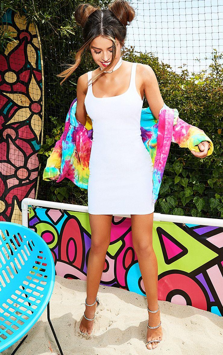 White Scoop Neck Bodycon Dress
