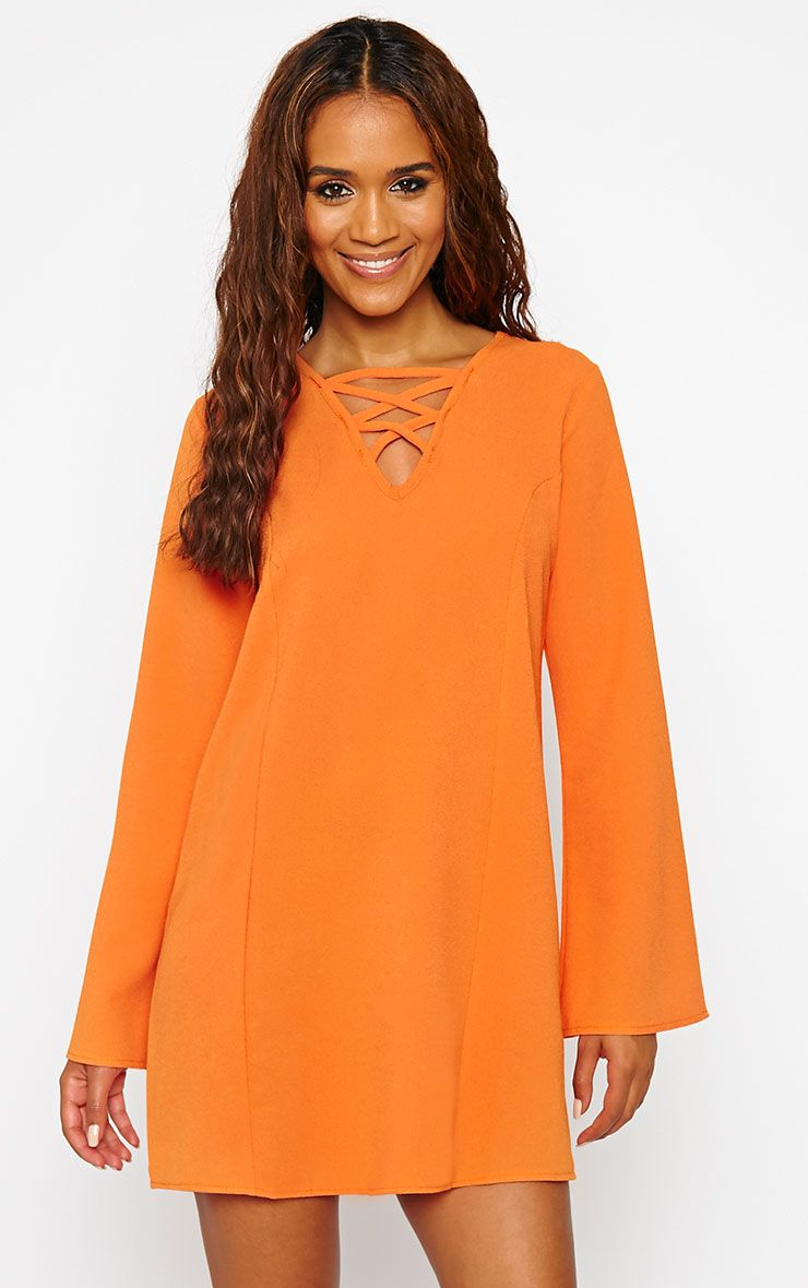 Liz Orange Cross Front Crepe Loose Fit Swing Dress 1