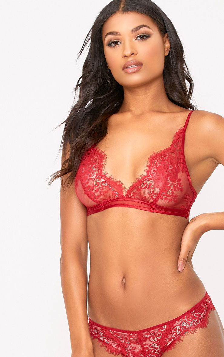 Wendy Red Sheer Lace Brazilian