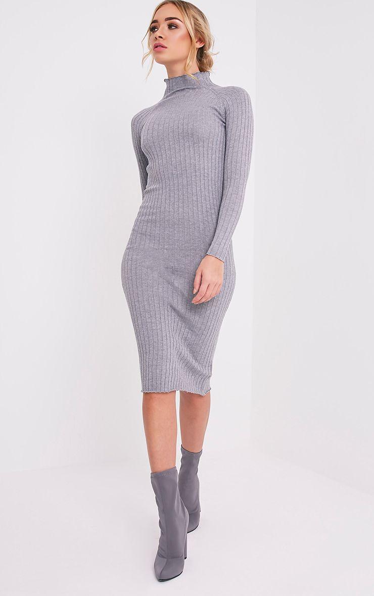 Katalina robe midi grise tricotée à côtes larges 5
