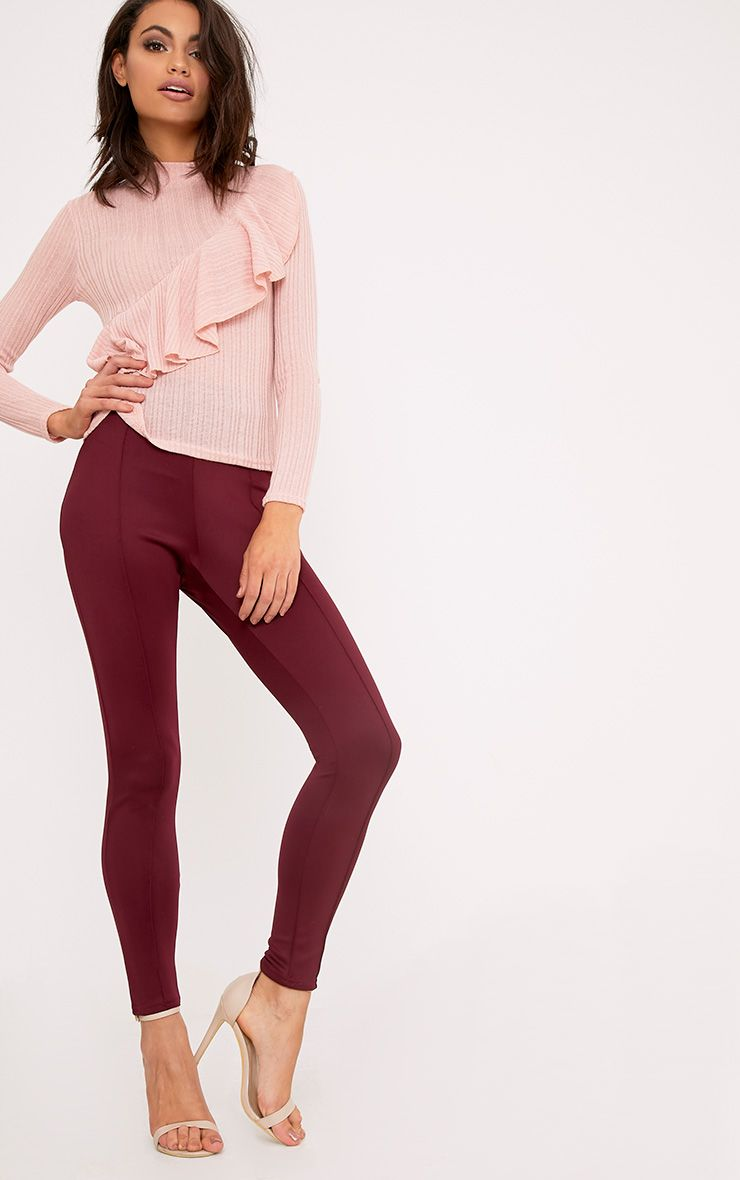 Larena Berry Front Seam Skinny Trousers