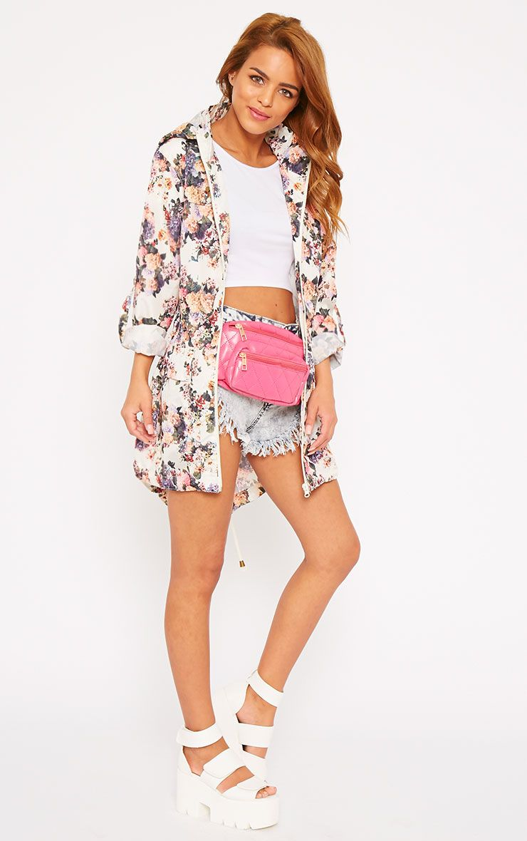 Renee Cream Floral Print Raincoat 1