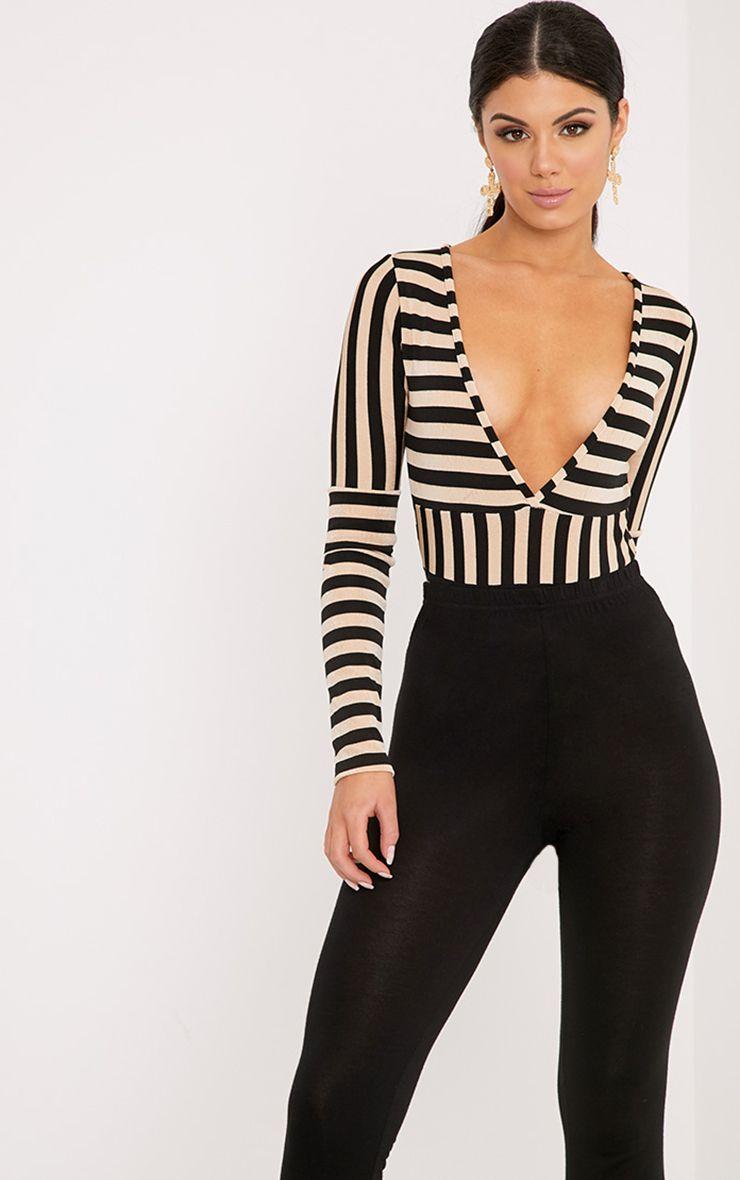 Sophy Black Slinky Shimmer Stripe Plunge Thong Bodysuit