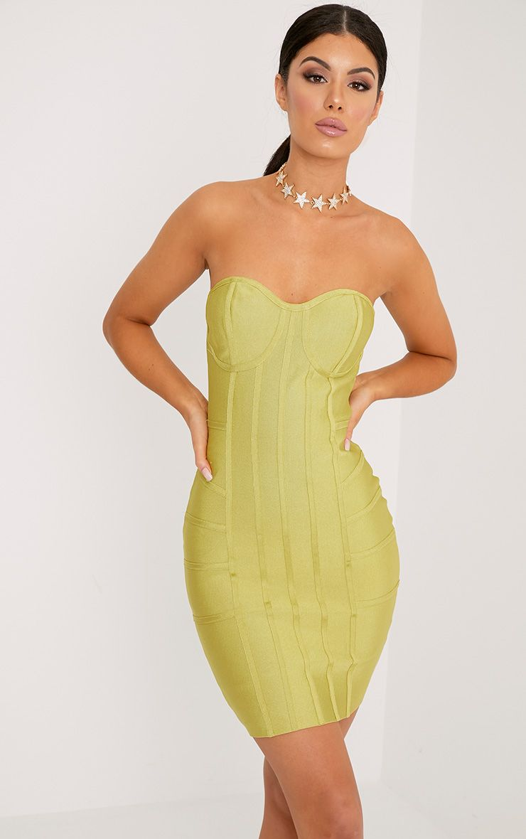 Cloe Dark Lime Bandage Panel Bodycon Dress 1